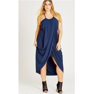 City Chic Slinky Wrap Dress in French Navy XXL